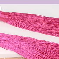 Borla gruesa 1era calidad, de hilo de seda, color fucsia , 7 cm de largo, set de dos unidade
