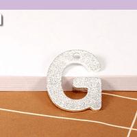 Letra G, baño de plata, 15 x 12 mm, por unidad