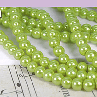 imitación perla verde metalizado 6 mm, tira de 145 perlas aprox