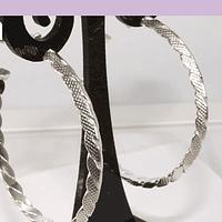 Aro tipo argolla, baño de plata, 42 x 5 mm, por par