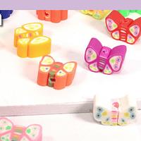 Set de separadores en forma de mariposas de arcilla polimérica de 11 x 8 mm, set de 24 unidades aprox.