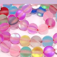 Cristal aurora mate multicolor, de 6 mm, tira de 62 unidades aprox