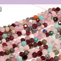 Mix de piedras, facetado de 3 mm, tira de 115 piedras aprox.