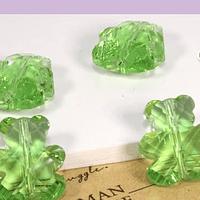 Cristal tipo separador en forma de oso, color verde, 13 x 11 mm, set de 4 unidades