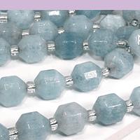 Agua marina de 8 mm, polígono facetado, set de 15 piedras