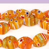 Vidrio Murano, naranjo, 12 x 8 mm, set de 25 unidades