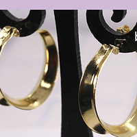 Argolla aro baño de oro, 23 x 7 mm, por par