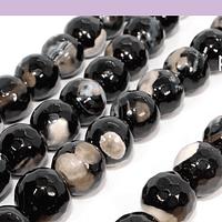 Agatas, Agata de 10 mm, facetada negra, blanco y café, tira de 37 piedras aprox.