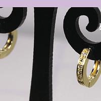 Aros zirconia baño de oro, tipo argolla, 12 mm x 2 mm, por par