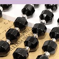 Agata negra de 8 mm, polígono facetado, set de 15 piedras