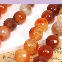 Agatas, Agata de 10 mm, facetada café y naranja, tira de 37 piedras aprox.
