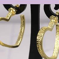 Aro baño de oro en forma de corazón, 25 x 25 mm, por par