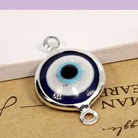 Dije doble conexión ojo turco, con borde baño de plata, 12 x 20 mm, por unidad