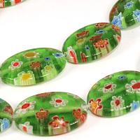 Vidrio murano en forma ovalada, color verde con flores, 18 x 13 mm, tira de 15 piezas