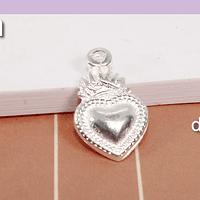 Dije baño de plata en forma de corazón detente, 16 x 10 mm, set de 6 unidades (por mayor)