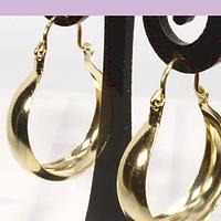 Aro tipo argolla baño de oro, 22 x 7 mm, por par