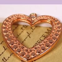 Colgante corazón baño de cobre, 26 x 25 mm, por unidad
