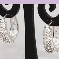 Aros zirconia con base baño de plata, 15 x 15 mm, 7 mm, de ancho, por par