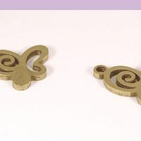Dije acero dorado de mariposa, 10 x 11 mm, set de 2 unidades