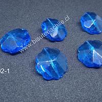VIdrio azul en forma de flor, 20 mm de diámetro, set de 5 unidades