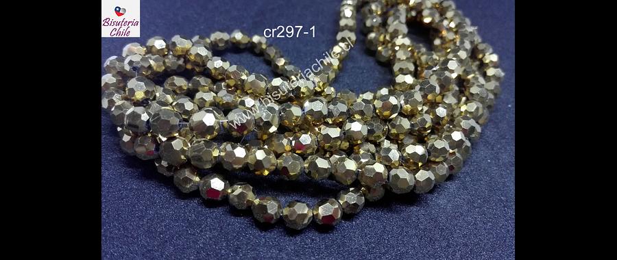 Cristal redondo de 6 mm, color dorado, tira de 50 cristales aprox