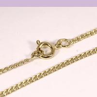 Collar baño de oro, plana, 2 x 2 mm,  45 cm, por unidad