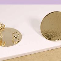 Base de aro baño de oro, 20 mm, por par