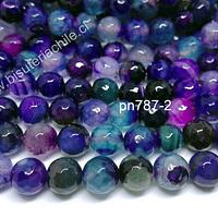 Agata en tono calipsos, azules y morados, 10 mm, tira de 38 piedras aprox