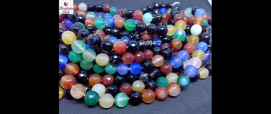 Agata de 10 mm mix de colores en tonos tierra, tira de 38 piedras aprox