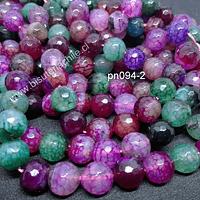 Agata de 10 mm en tonos rojos, verdes y lilas, tira de 38 piedras aprox.