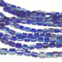 Vidrio cuadrado azul 6 x 8 mm, tira de 40 vidrios aprox