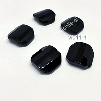 vidrio color negro facetado, 18 x 18 mm, agujero de 1,5 mm, set de 5 unidades