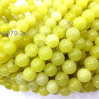 jade limón 6 mm, tira de 64 piedras piedras aprox
