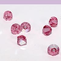 Cristal Austriaco tupi de 4 mm, color rosa tornasol, set de 10 unidades