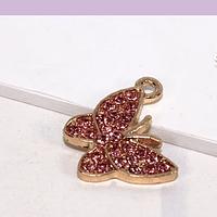 Dije strass base dorado, fantasía, mariposa con stras rosado, 16 x 15 mm, por unidad