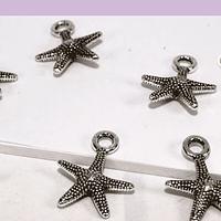 Dije plateado en forma de estrella de mar, 13 mm, set de 7 unidades