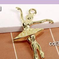 Colgante bailarina baño de oro, 31 x 19 mm, set de 6 unidades (por mayor)