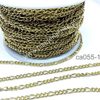 Cadena de Acero dorado tipo cartier, 4 x 3 mm, por metro
