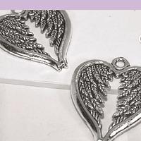 Set de colgantes, corazón con alas, 30 x 24 mm, set de 2 unidades