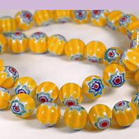 vidrio murano amarillo con diseño de flores azules, 8 mm, tira de 48 cuentas aprox.