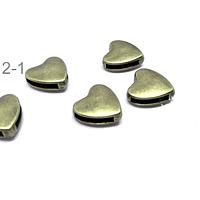 Separador envejecido en forma de corazón, 13 x 13 mm, agujero de 11 x 2 mm, set de 5 unidades