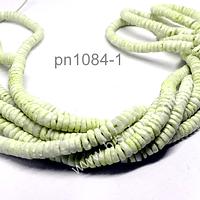Nacar cilindro en color verde limón, 6 mm de diámetro, tira de 250 unidades aprox.