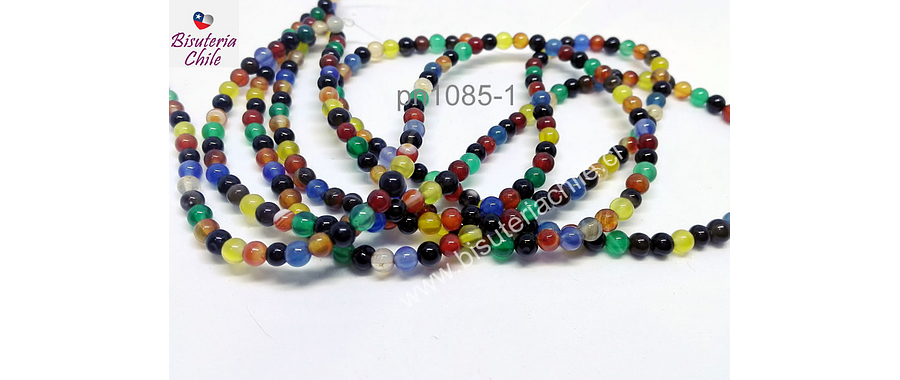 Agata lisa de 4 mm, en tono multicolor, tira de 93 piedras aprox