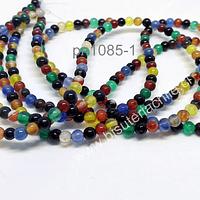 Agatas, Agata lisa de 4 mm, en tono multicolor, tira de 93 piedras aprox