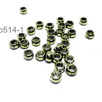 Separador dorado, 5 mm de diámetro 3 mm de ancho, agujero de 3 mm, set de 34 unidades aprox