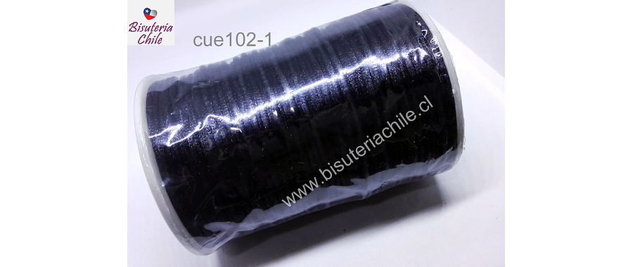 Cola de ratón negro, rollo de 100 mts, 2 mm de grosor.