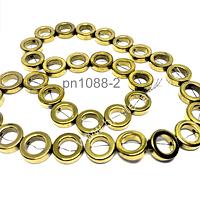 Hematite en forma de circulo dorado, 12 mm de diámetro, 4 mm de ancho, 8 mm de diámetro circulo interno, tira de 32 piedras aprox.