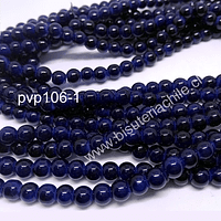 Perla de vidrio 6 mm en color azul marino, tira de 140 perlas