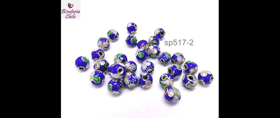 Perlas, Perla española 6 mm en tonos azules, set de 8 unidades