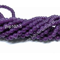 Perla de vidrio 6 mm en color morado, tira de 140 perlas aprox.